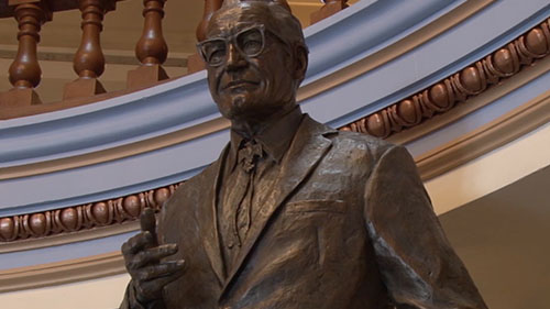 The Arizona Capitol Museum unveiled an 8-foot bronze statue of former Sen. Barry Goldwater. The sculpture will remain at the museum for a few months before it's moved to National Statuary Hall in the U.S. Capitol. Cronkite News reporter <b>Thuy Lan Nguyen</b> has more.